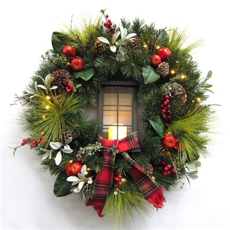 battery led wreath lights shop holiday living 30 in pre lit indoor outdoor battery