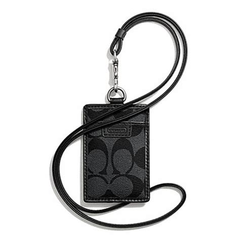 Coach Id Charcoal X Black Lanyard Signature Id F64063 coach f68664 heritage lanyard in signature charcoal black coach