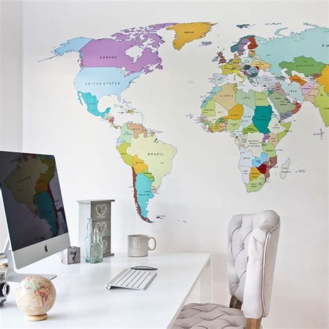 map wall decal printed world map vinyl wall sticker decal graphic for