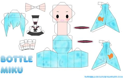 Vocaloid Papercraft - bottle miku papercraft by tamuu ii on deviantart