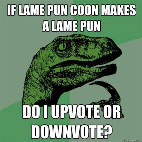 Lame Pun Coon Meme - if lame pun coon makes a lame pun do i upvote or downvote