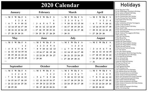 malaysia holidays calendar  templates  excel word calendar