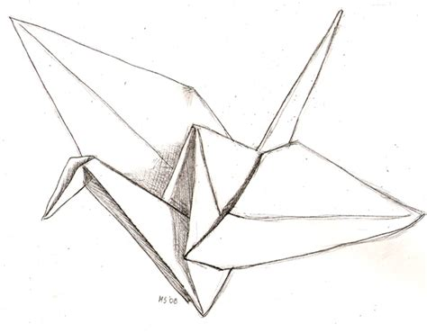 Origami Crane Drawing - paper crane by leoness on deviantart
