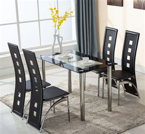 5 Piece Glass Dining Table Set 4 Leather Chairs Kitchen 5 Dining Table Set