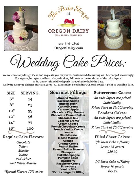 Wedding Cakes Prices wedding cakes the bake shoppe oregon dairy