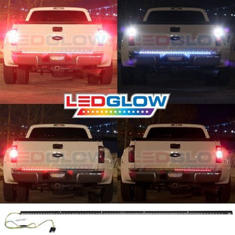 Ledglow 60 Inch Red Tailgate Led Light Bar With White 60 Inch Led Light Bar