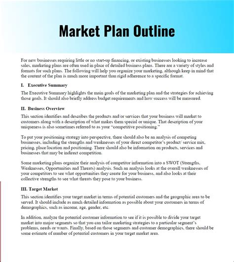 business plan marketing section simple marketing plan template template design