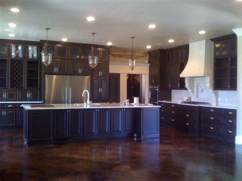 stained concrete floor Kitchen with accessories allenton