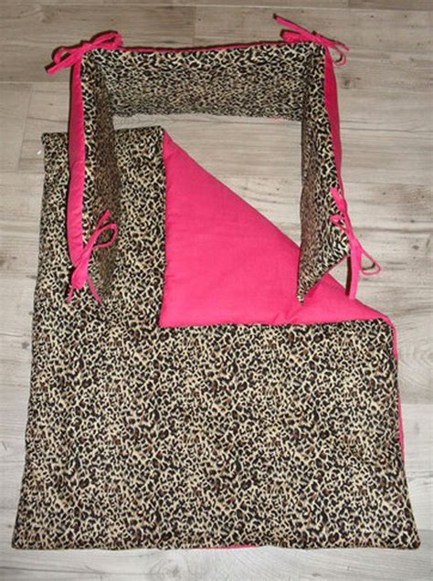 Pink And Leopard Crib Bedding Items Similar To Leopard Print And Pink Crib Cradle Bedding Set Includes Bumper And Quilt On