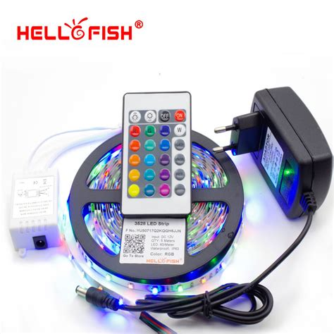 Led Light Strips With Remote Hello Fish 5m 3528 300 Smd Led Light 24 Ir Remote Controller 12v 2a Power