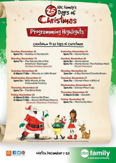 abc family schedule 2012 christmas pinterest