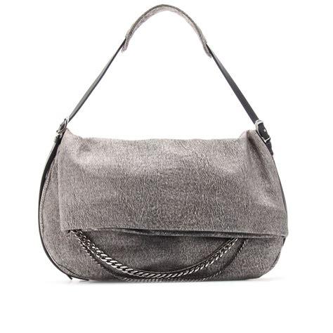 Jimmy Choo Ring Shoulder Bag by Jimmy Choo Biker Metallic Leather Shoulder Bag In Silver
