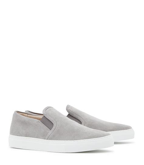how to clean light suede shoes reiss delon slip on suede sneakers in gray for lyst