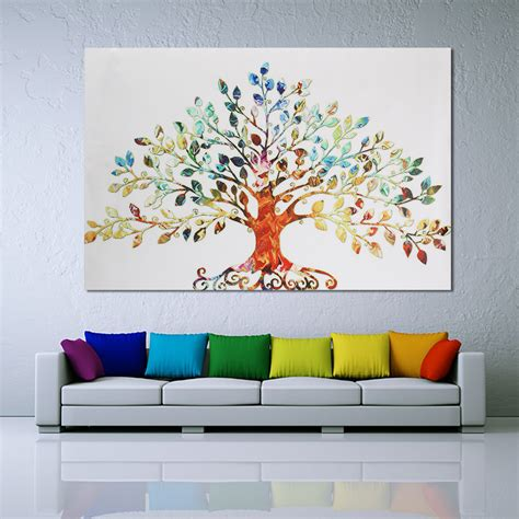 xcm picture abstract colorful leafy tree unframed