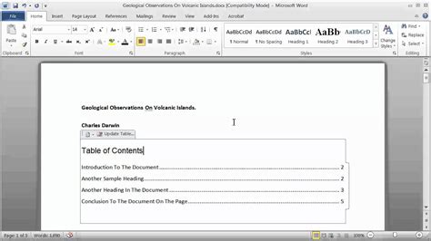 best photos of format table of contents word word table