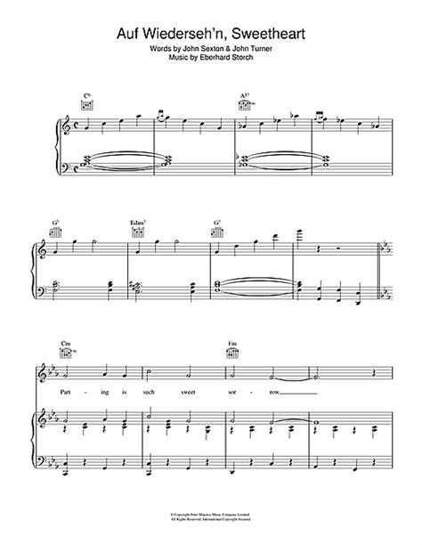 theme music vera auf wiederseh n sweetheart sheet music by vera lynn