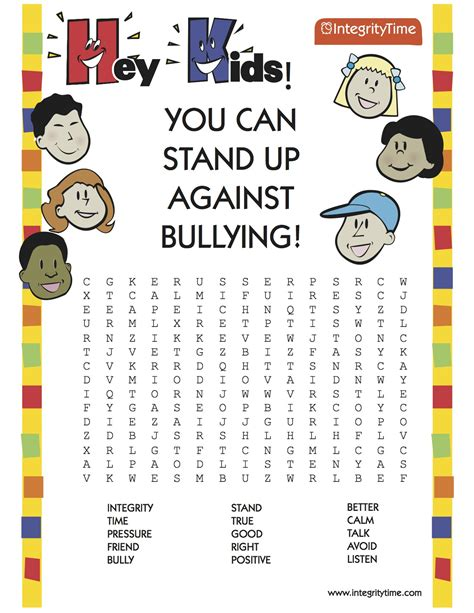 printable word search on bullying bullying find a word integrity time