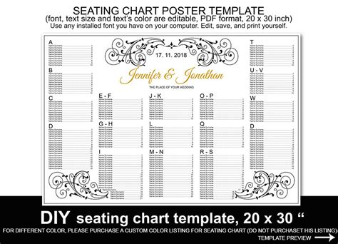 Wedding Seating Chart Poster Template Printable Reception Wedding Seating Chart Template Printable