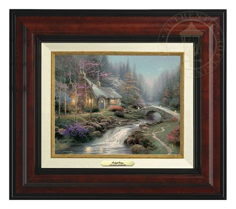 kinkade twilight cottage twilight cottage canvas classic burl frame cv and frame