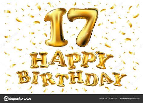 Confetti Omedetto 17 jaar verjaardag gelukkige verjaardag vreugde viering 3d illustratie met briljante gouden