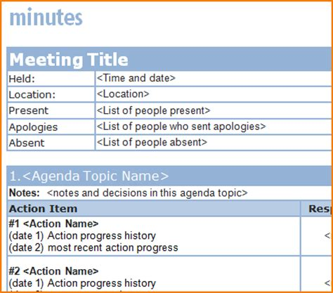 4 Free Meeting Minutes Template Teknoswitch Professional Meeting Minutes Template