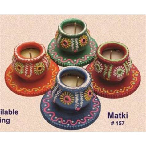 Diwali Handmade Items - handmade earthen matki diya set of 4 redefining