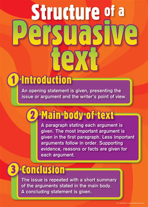 essay structure year 8 persuasive text posters teacher superstore teaching