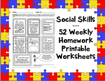 Worksheets For Autism Social Skills by Social Skills Weekly Homework Worksheets 365 Activities