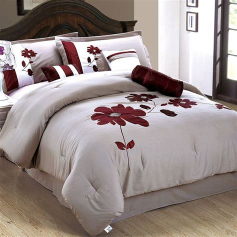 25 Off 7pc Comforter Set Exquisite Embroidered Flower Size Bedding Sets