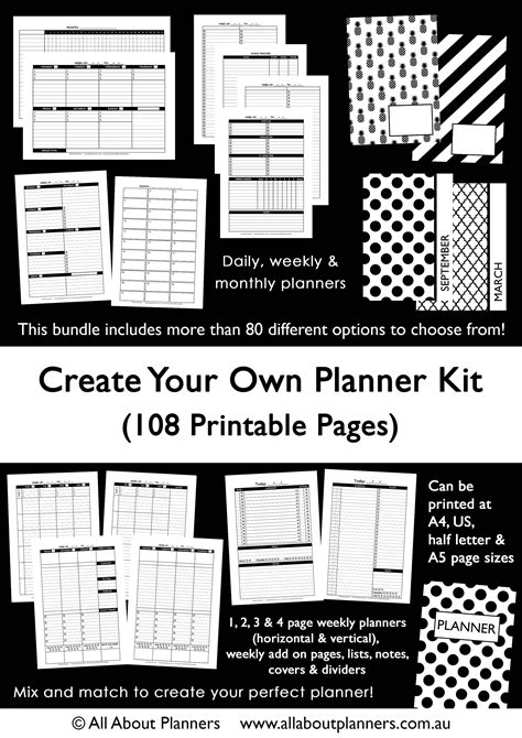 build your own planner custom planner kit printable build your own weekly daily