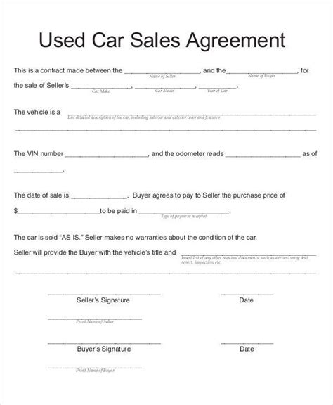 contract template for selling a car 7 car sales contract sles templates in pdf