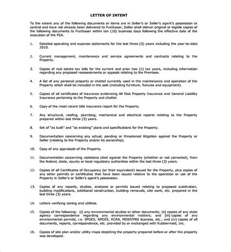real estate letter of intent template letter of intent to sell business sle