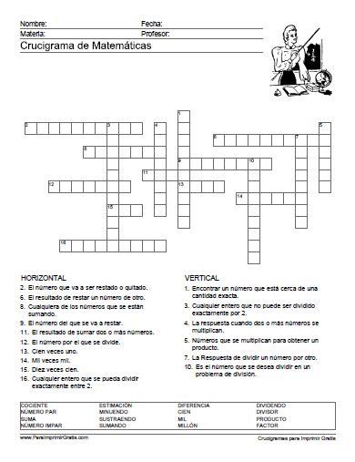 preguntas basicas de geografia colombiana crucigrama de matem 225 ticas primera comuni 243 n pinterest