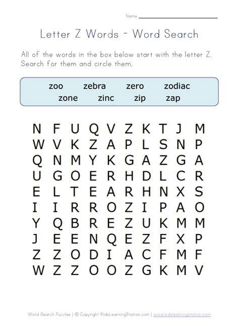 Z Search Letter Z Word Search Learning Station