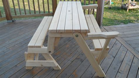 how to build picnic table bench folding bench picnic table combo kreg owners community