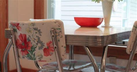 vinyl kitchen chair fabric cool idea for fixing upholstery on those awesome 50 s