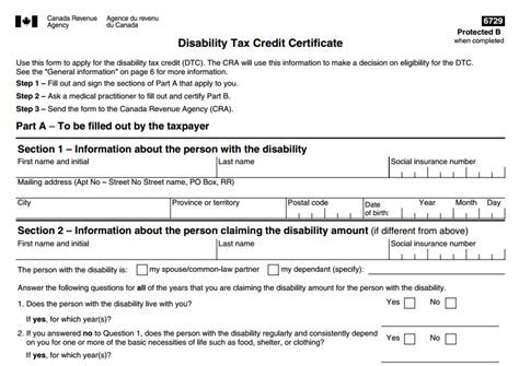 Disability Tax Credit Form Disability Tax Credit Certificate Form