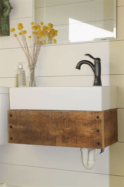Diy Wood Vanity by Reclaimed Wood Floating Vanity Remodelaholic Bloglovin