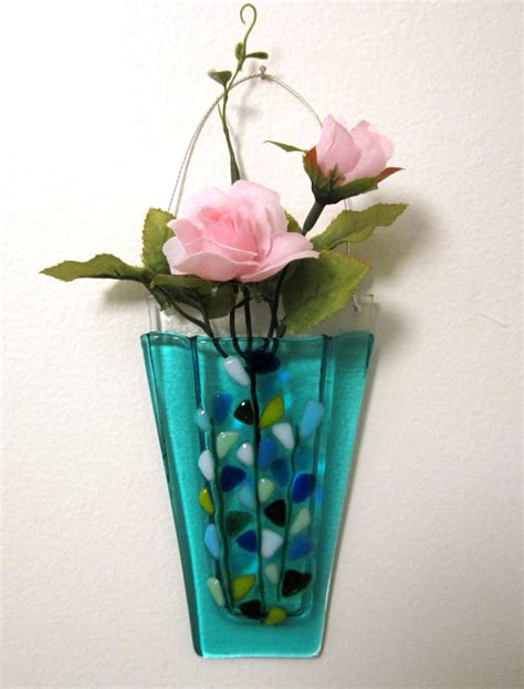 Glass Wall Vases For Flowers by Fused Glass Wall Vase Glass Flower Vase Glass Wall By