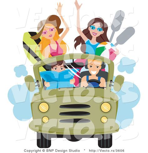 beach jeep clipart vector of happy young men and women driving to the beach