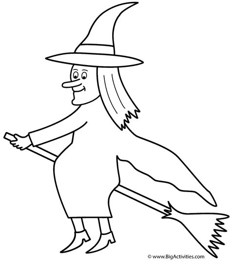 Witch Broomstick Coloring Page | witch on broom coloring page halloween