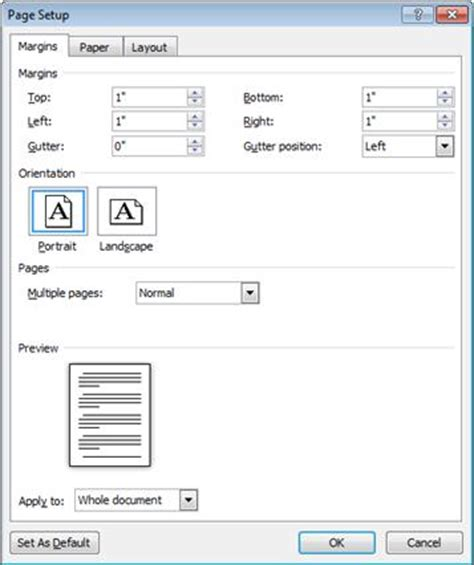default setter c change margins word
