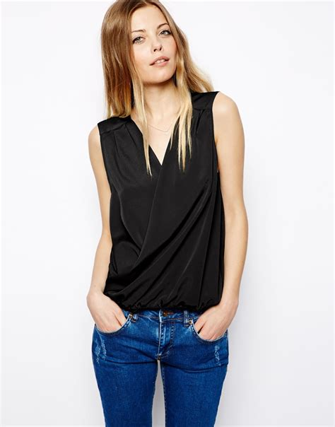 drape front tops asos sleeveless top with drape front in black lyst