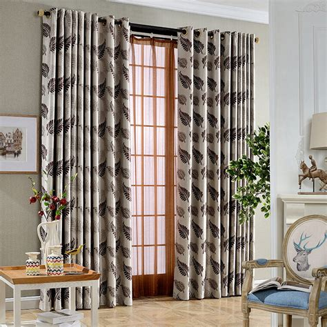 leaf design curtains thick polyester thermal insulated curtains leaf pattern in