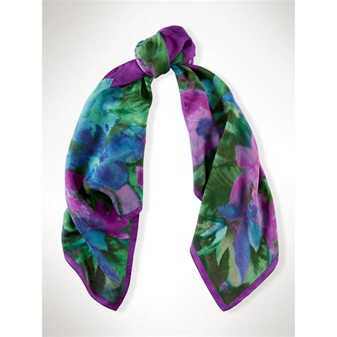 ralph silk watercolor floral scarf in blue lyst