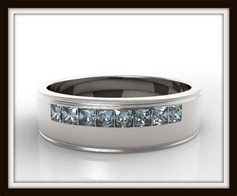 Mens Princess Cut Blue Topaz Wedding Band   Vidar Jewelry