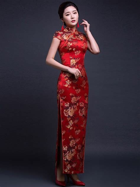 3 4 Sleeve Patterned Qipao 2018 年の silk ankle length qipao cheongsam wedding