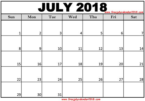 printable calendar specific dates 60 free july 2018 calendar printable blank templates