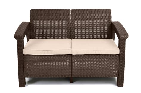 keter corfu love seat all weather outdoor patio furniture