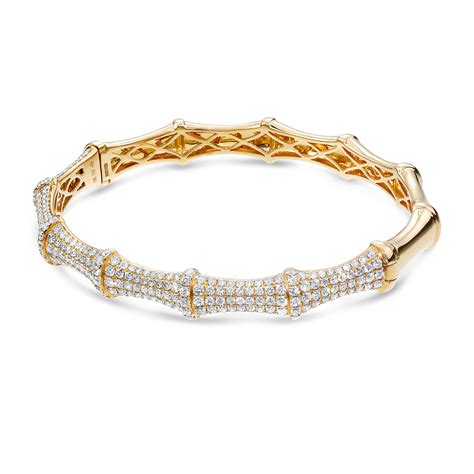 18k rg yg polished band pave bracelet